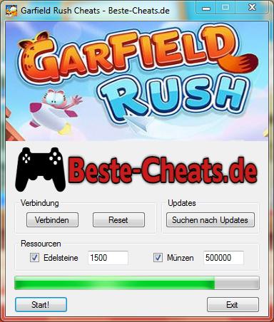 garfield rush cheats