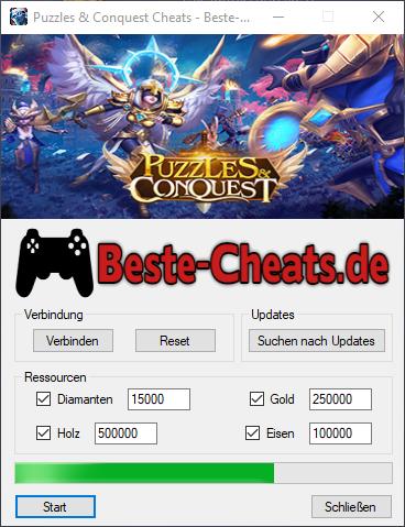 Mit den Puzzles & Conquest Cheats können Sie zu Ihrem Spiel Diamanten, Gold, Eisen und Holz hinzufügen