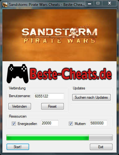 Sandstorm Pirate Wars Cheats - Energiezellen und Muttern