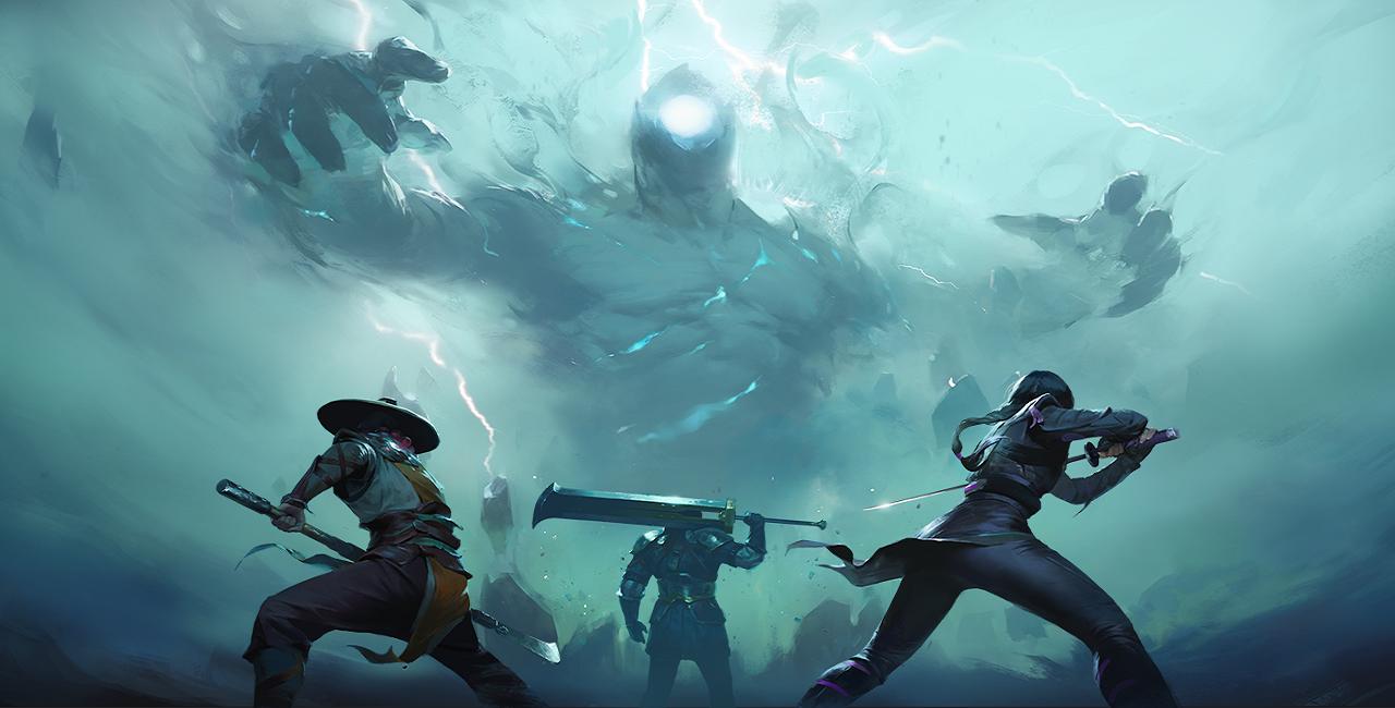 Shadow Fight Arena - Logo mit drei Helden