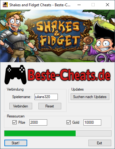 shakes and fidget pilze und gold cheats