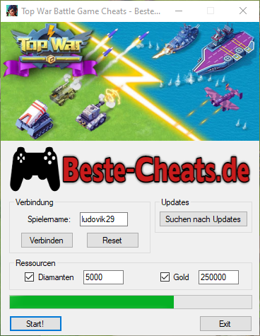 Top War Battle Game Cheats - Diamanten und Gold