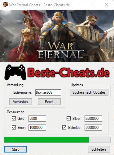 Mit War Eternal Cheats kannst du Gold, Silber, Eisen und Getreide hinzufügen
