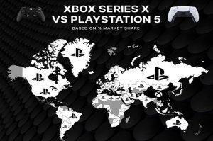 Xbox Series X vs. PlayStation 5 – welche Next-Gen Spielekonsole ist beliebter (Weltkarte)