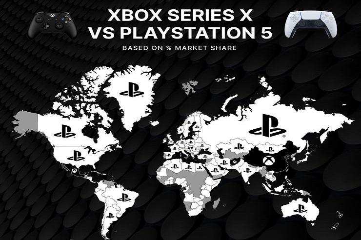 Weltkarte zeigt, welche Länder Xbox Series X bevorzugen und welche Playstation5-Spielekonsolen bevorzugen